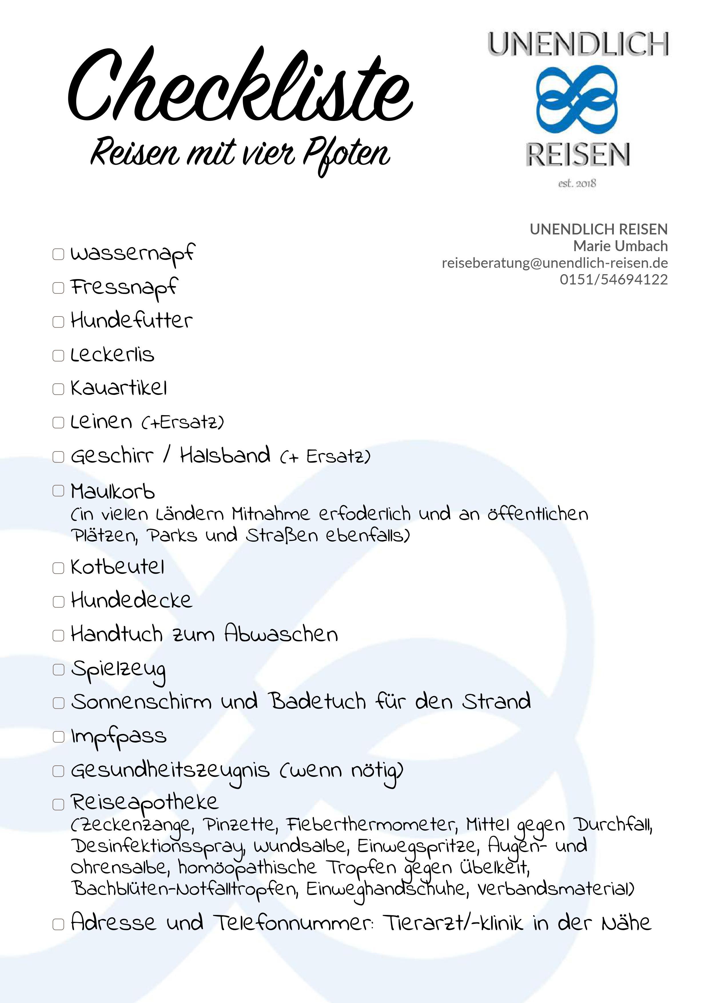Niedlich Urlaub Verpackung Checkliste Vorlage Zeitgenössisch ...